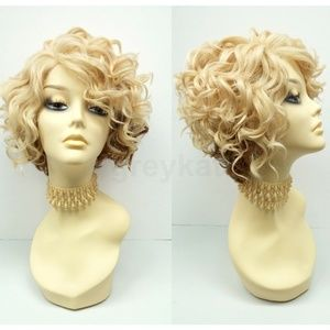 Blonde copper lace front heat safe short curly wig